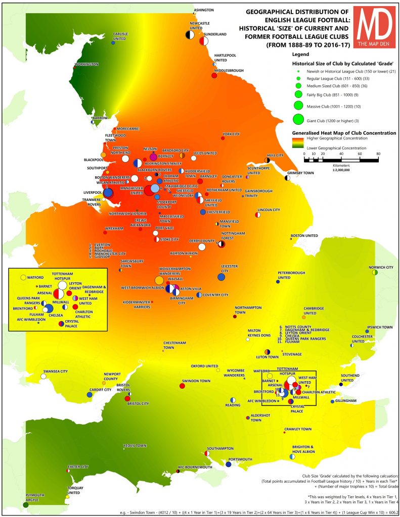 Map Of England 850.Mapping The Home Of Football Geography Of Efl The Map Den